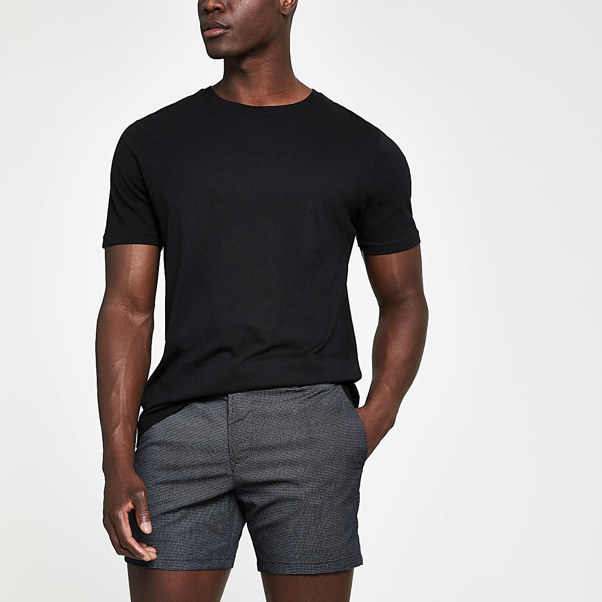Black check slim fit shorts