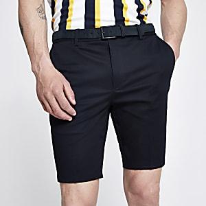 Navy skinny belted chino shorts