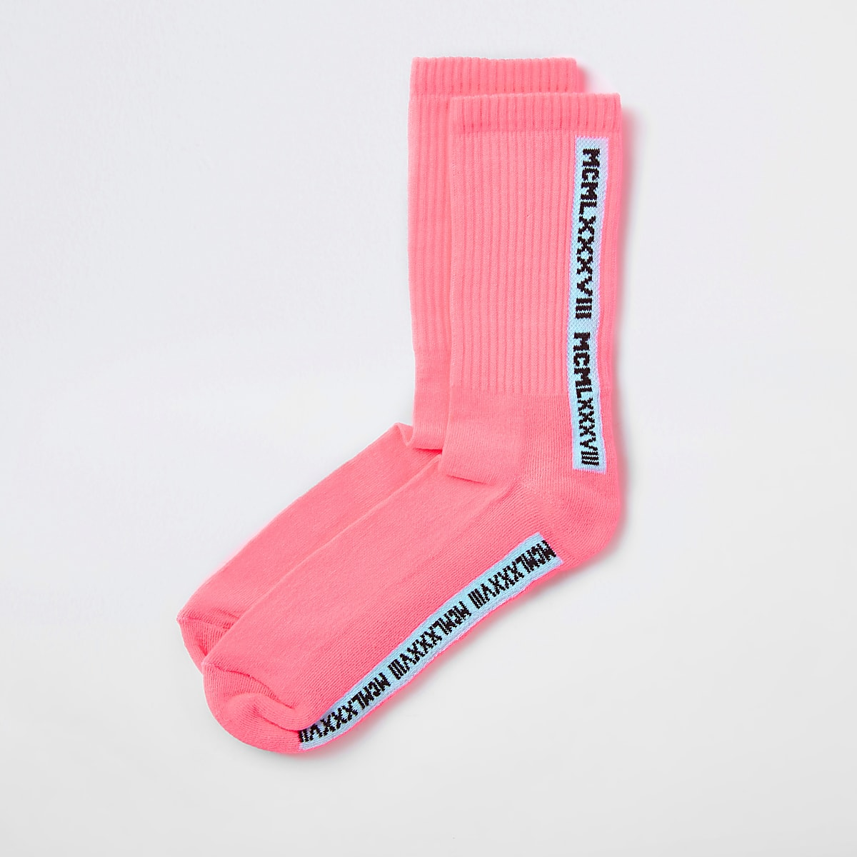 Pink 'Mcmlx' tube socks