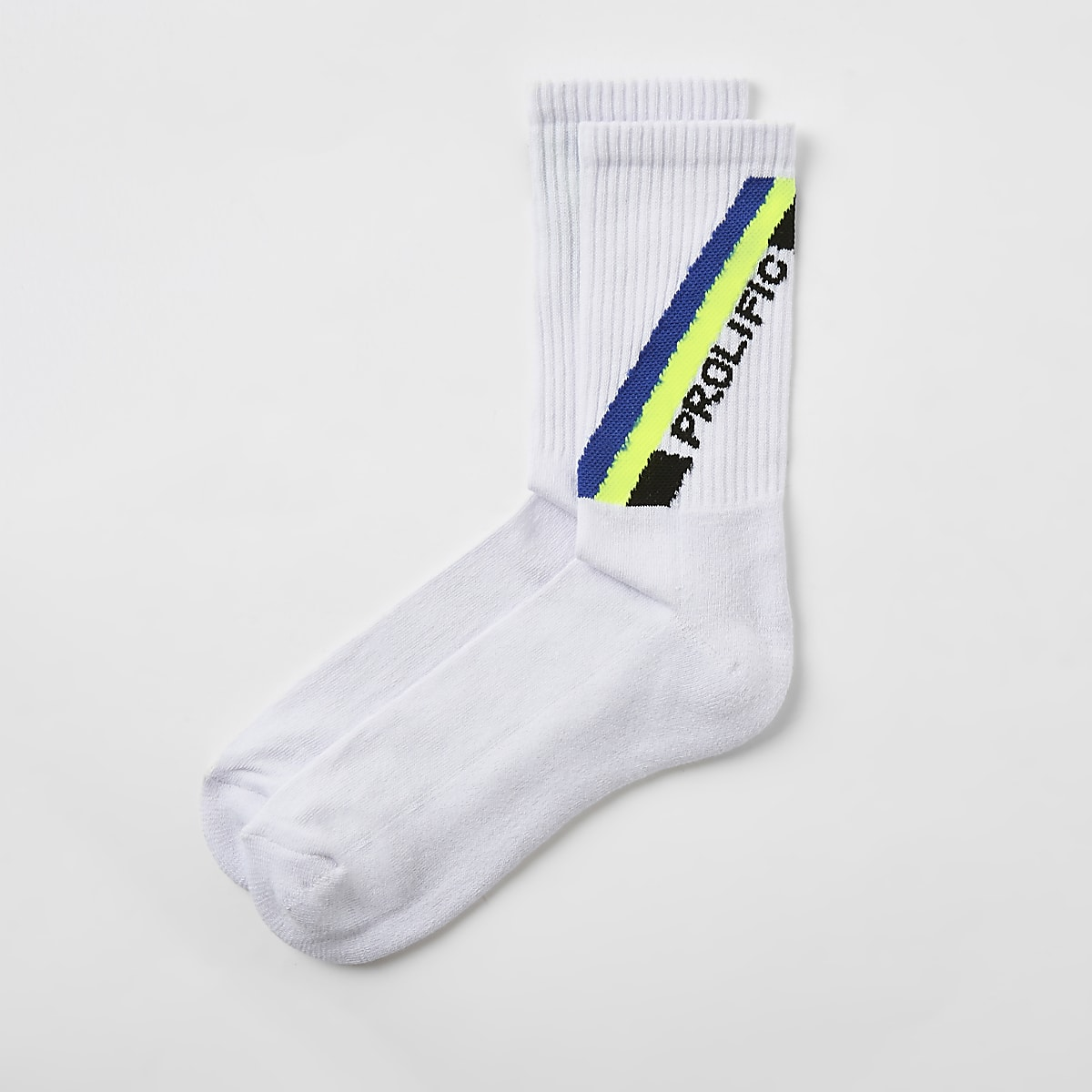 White 'Prolific' embroidered socks