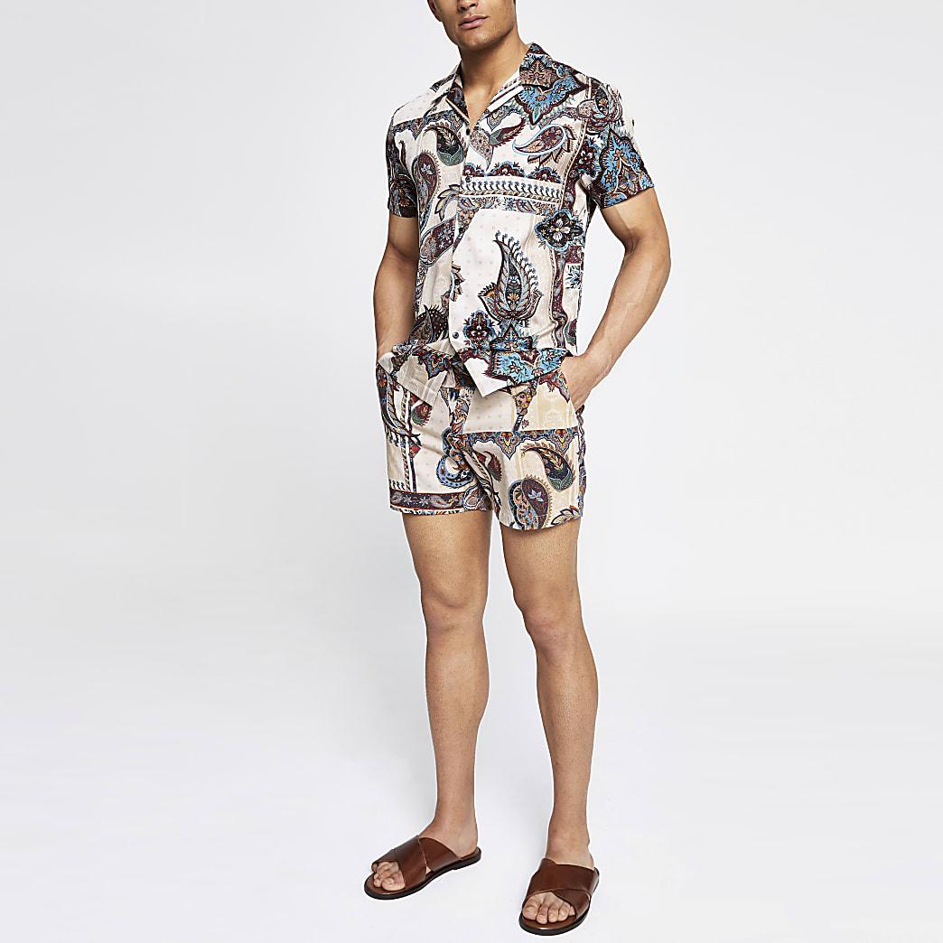 Ecru paisley slim fit shorts