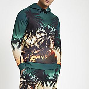 Sweat à capuche slim imprimé palmier bleu
