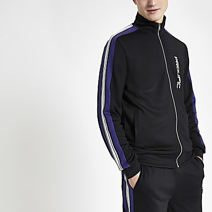 Black Prolific slim fit tape track top