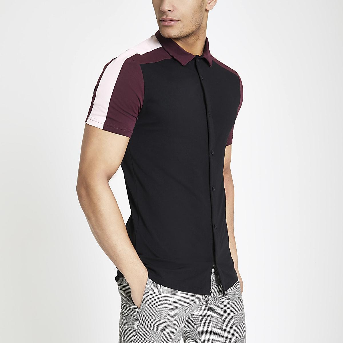 Black colour block button through shirt