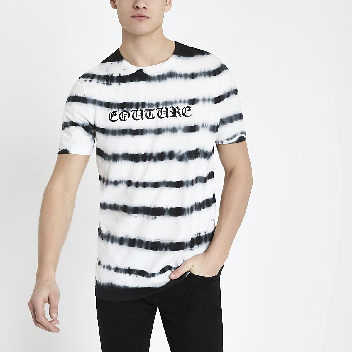 White 'Couture' tie dye slim fit T-shirt