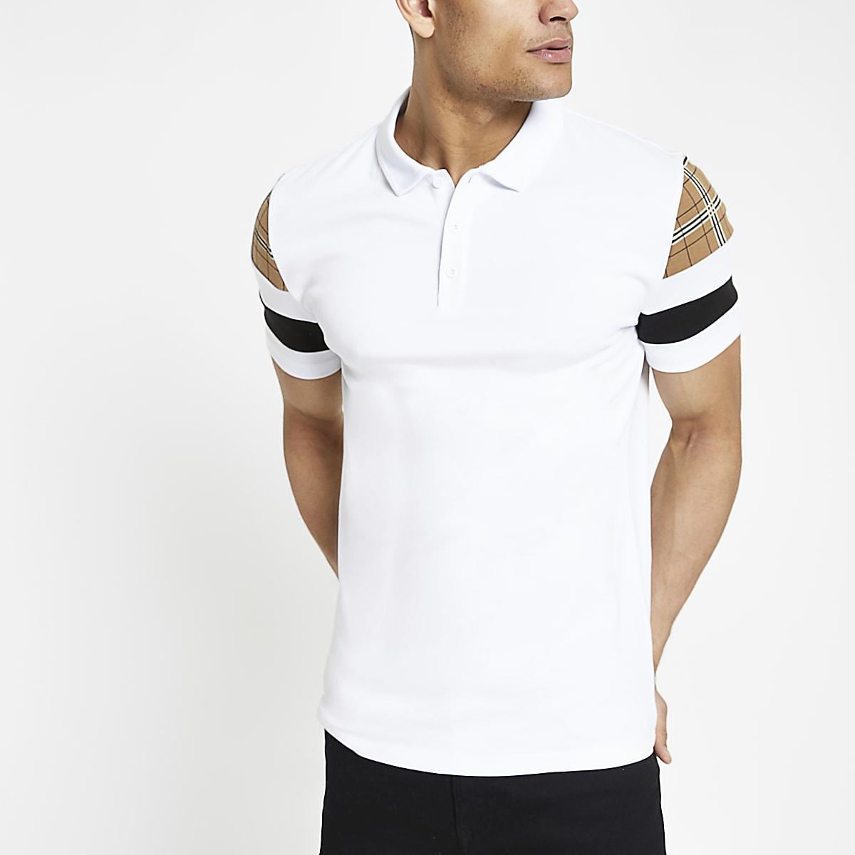 White slim fit check sleeve polo shirt