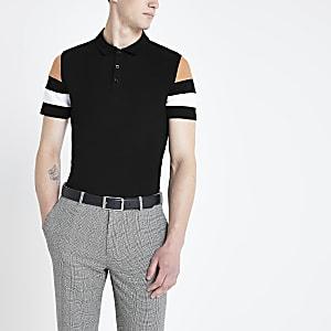Schwarzes Slim Fit Polohemd in Blockfarben