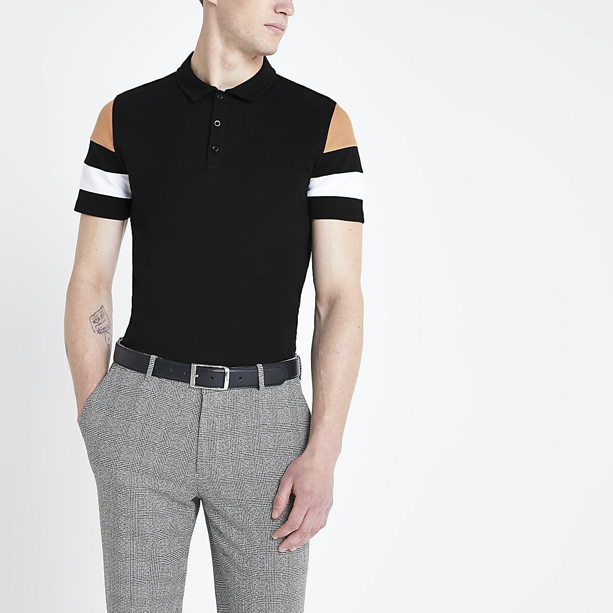 Polo slim noir à manches colour block