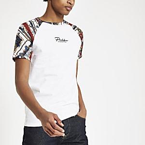 T-shirt ajusté «Prolific» blanc à manches raglan