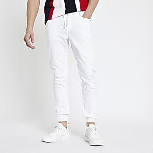 Witte skinny-fit joggingbroek