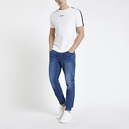 Mid blue Ryan skinny denim jogger jeans