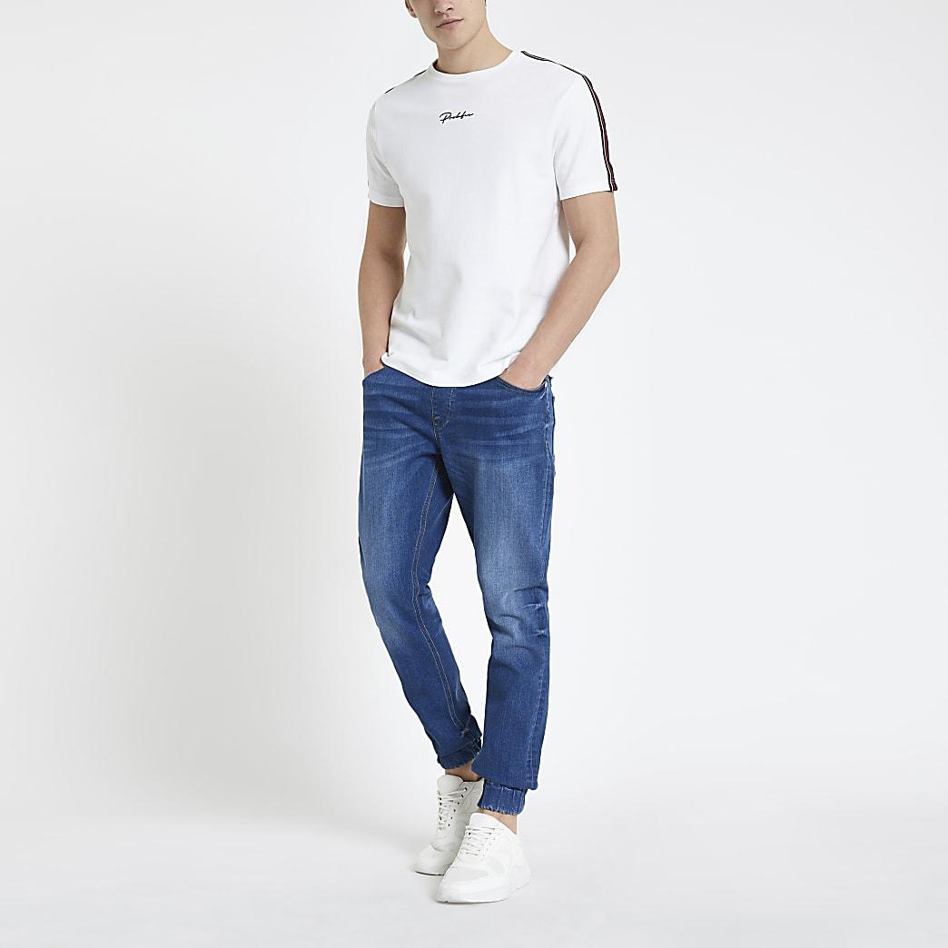Ryan – Mittelblaue Skinny Jeans-Jogginghosen