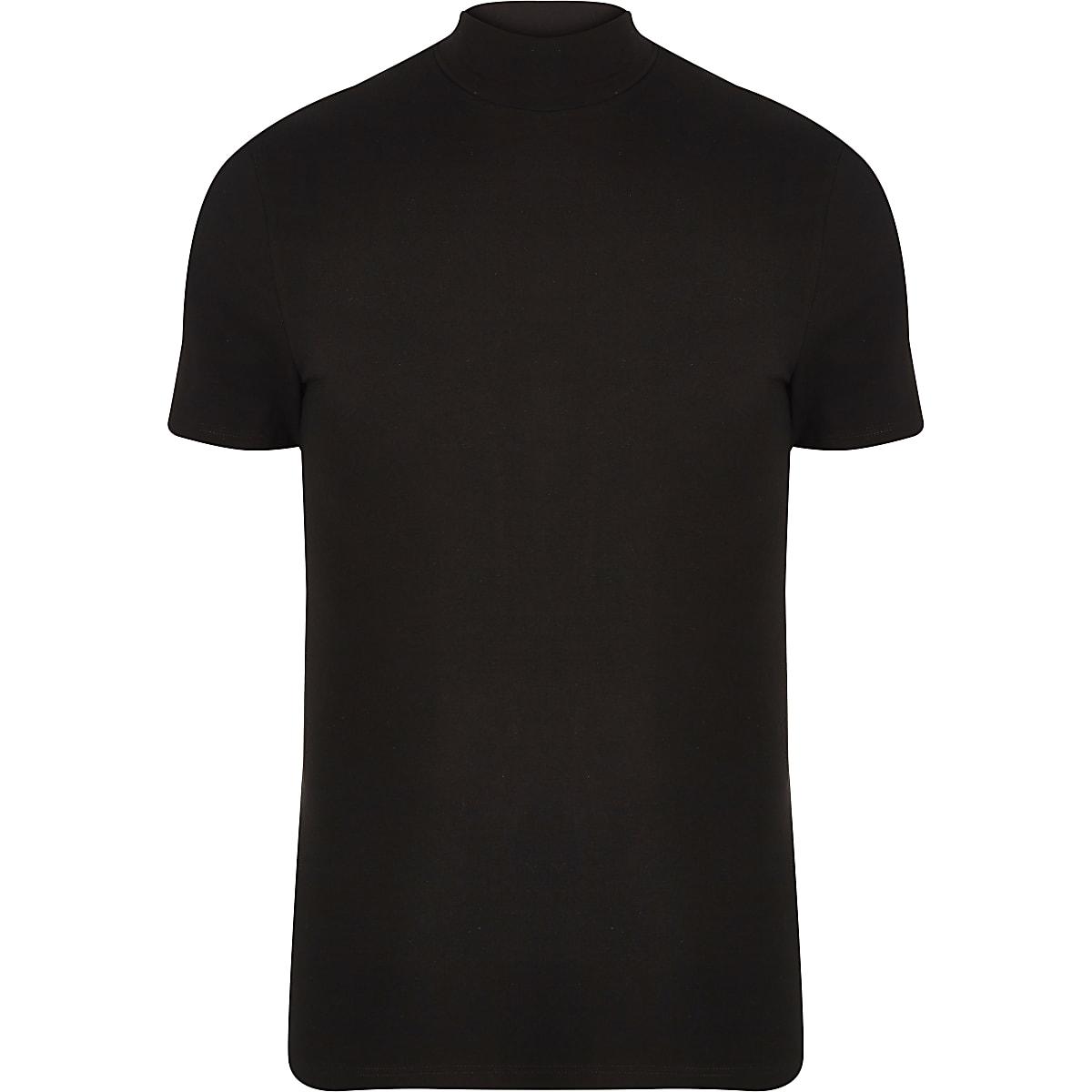 T-shirt ajusté noir à col montant