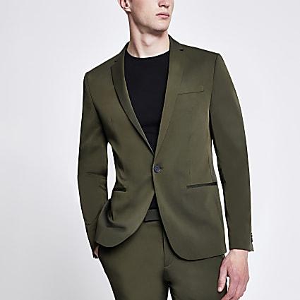 Khaki high shine stretch skinny suit jacket