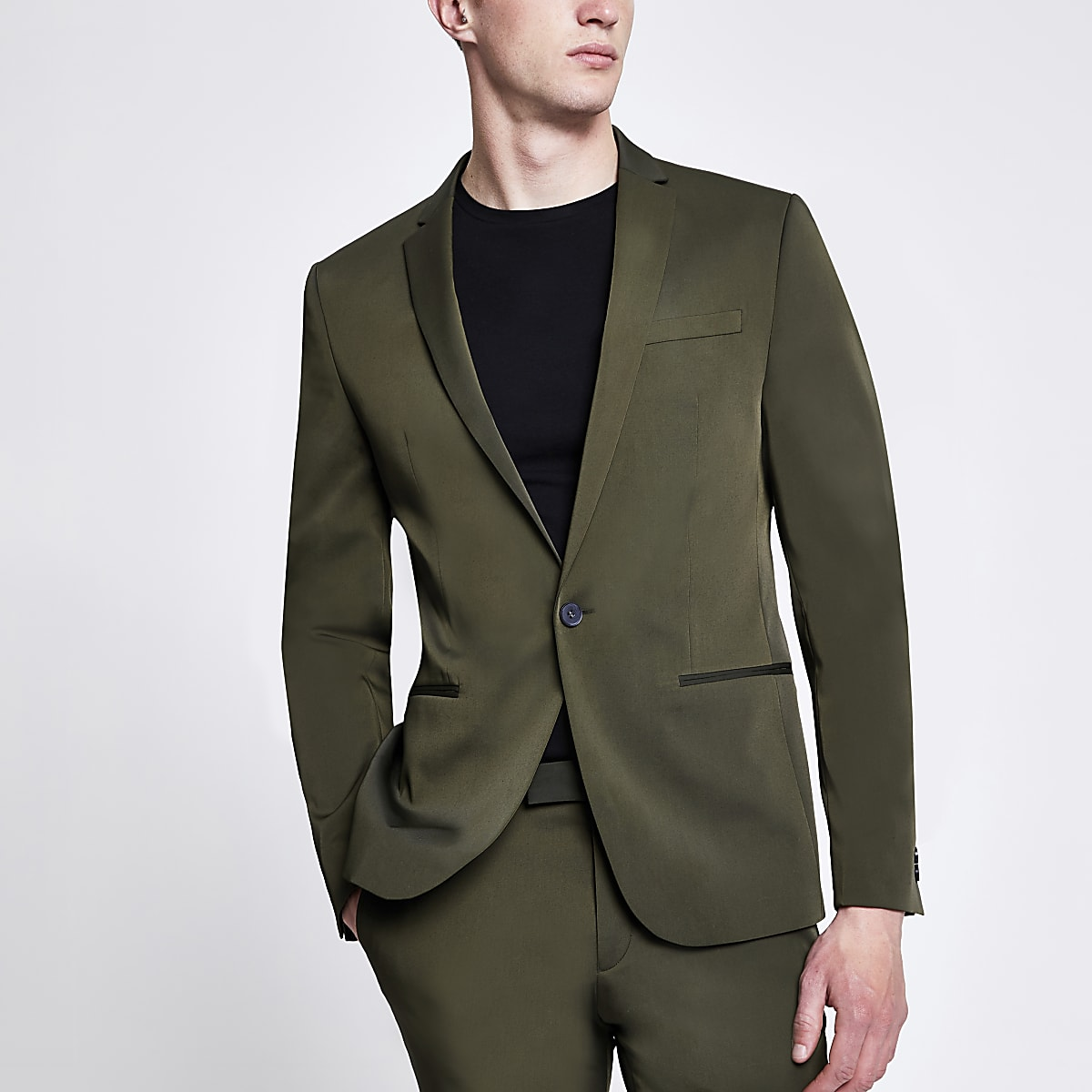 Khaki high shine stretch skinny suit jacket