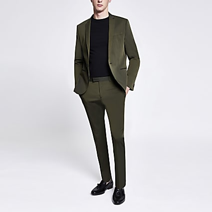 Khaki high shine skinny stretch suit trousers