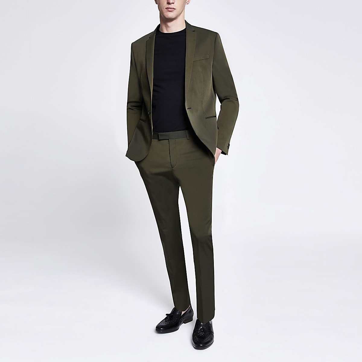 Khaki high shine skinny stretch suit pants