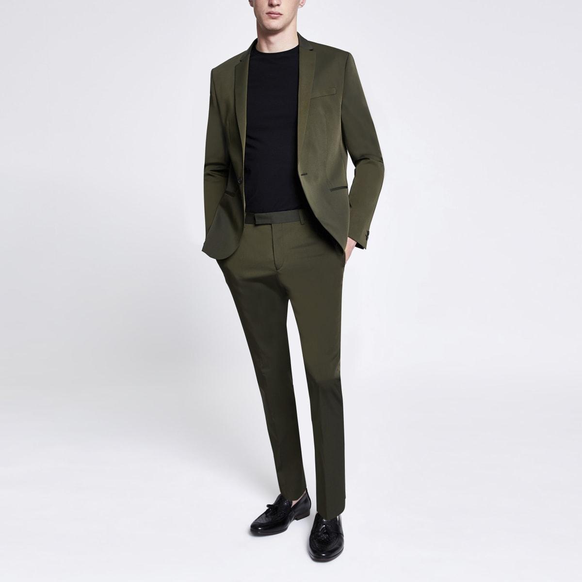 Khaki high shine skinny stretch suit pants