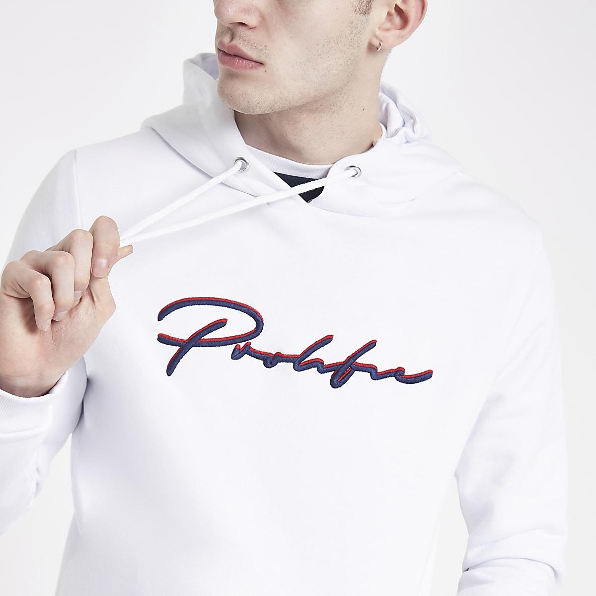 White Prolific slim fit hoodie