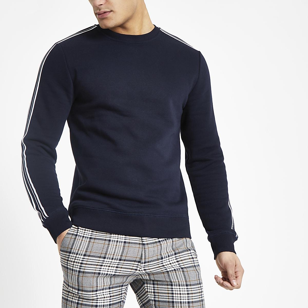 Navy tape slim fit crew neck sweatshirt