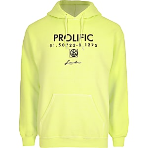 Neon yellow 'Prolific' long sleeve hoodie