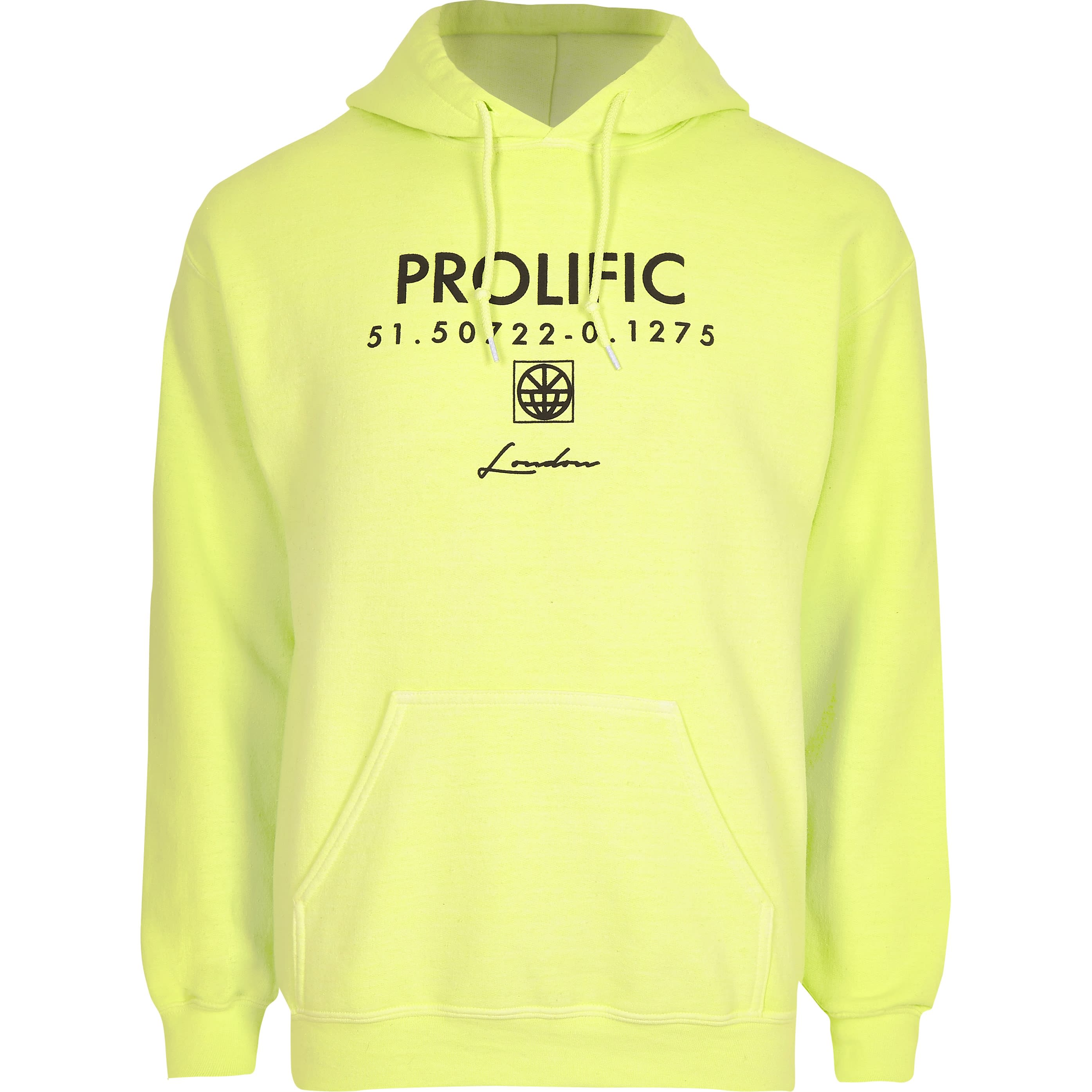 RIVER ISLAND | Mens Neon yellow 'Prolific' long sleeve hoodie | Goxip