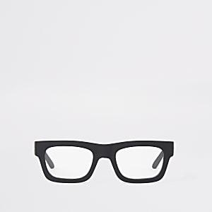 Lunettes à monture épaisse noire et verres transparents