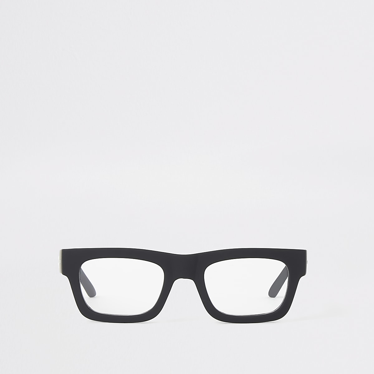Black chunky square clear lens glasses