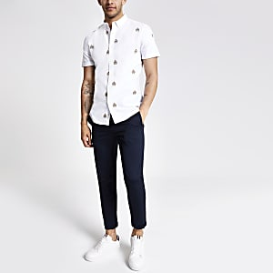 Ecru slim-fit geborduurd overhemd met korte mouwen