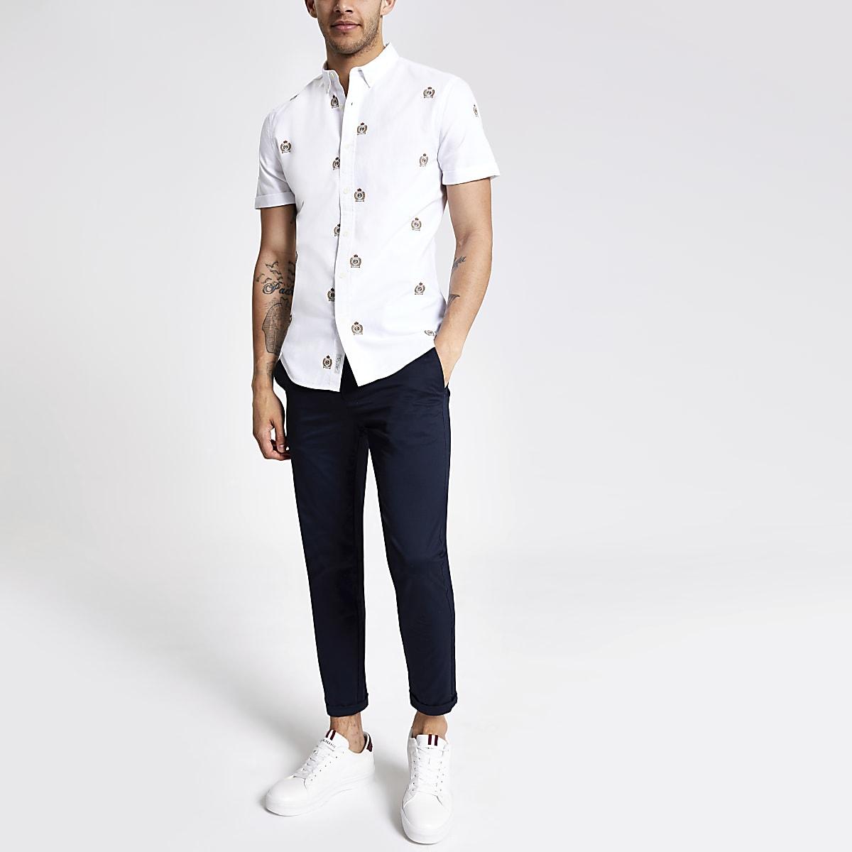 Ecru slim fit embroidered short sleeve shirt