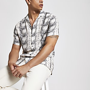Ecru snake print short sleeve shirt