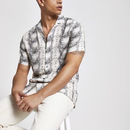 Ecru snake print short sleeve shirt