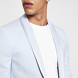 Light blue skinny stretch suit jacket