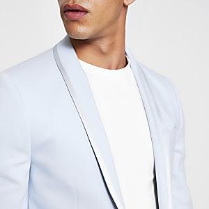 Veste de costume skinny bleu clair stretch