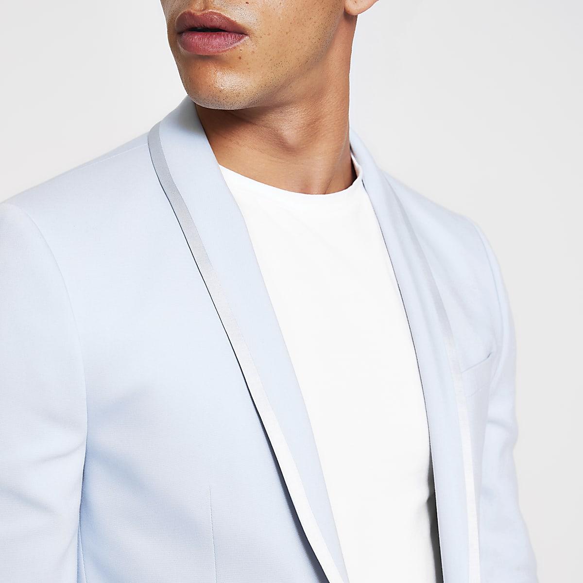Light blue skinny stretch suit jacket