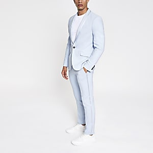 Light blue skinny stretch suit pants