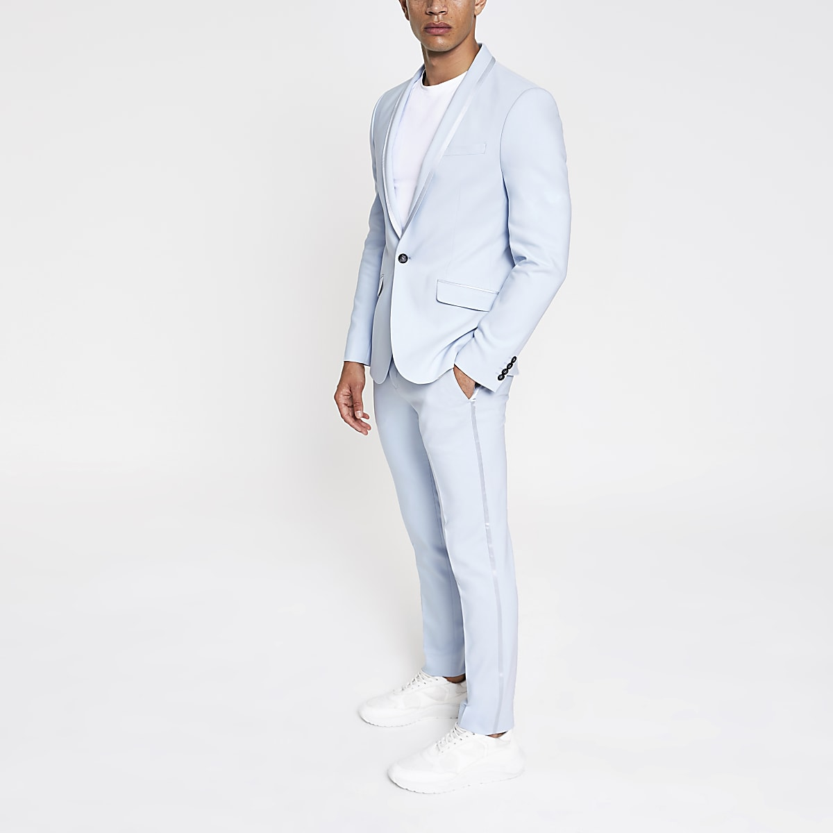 Light blue skinny stretch suit trousers