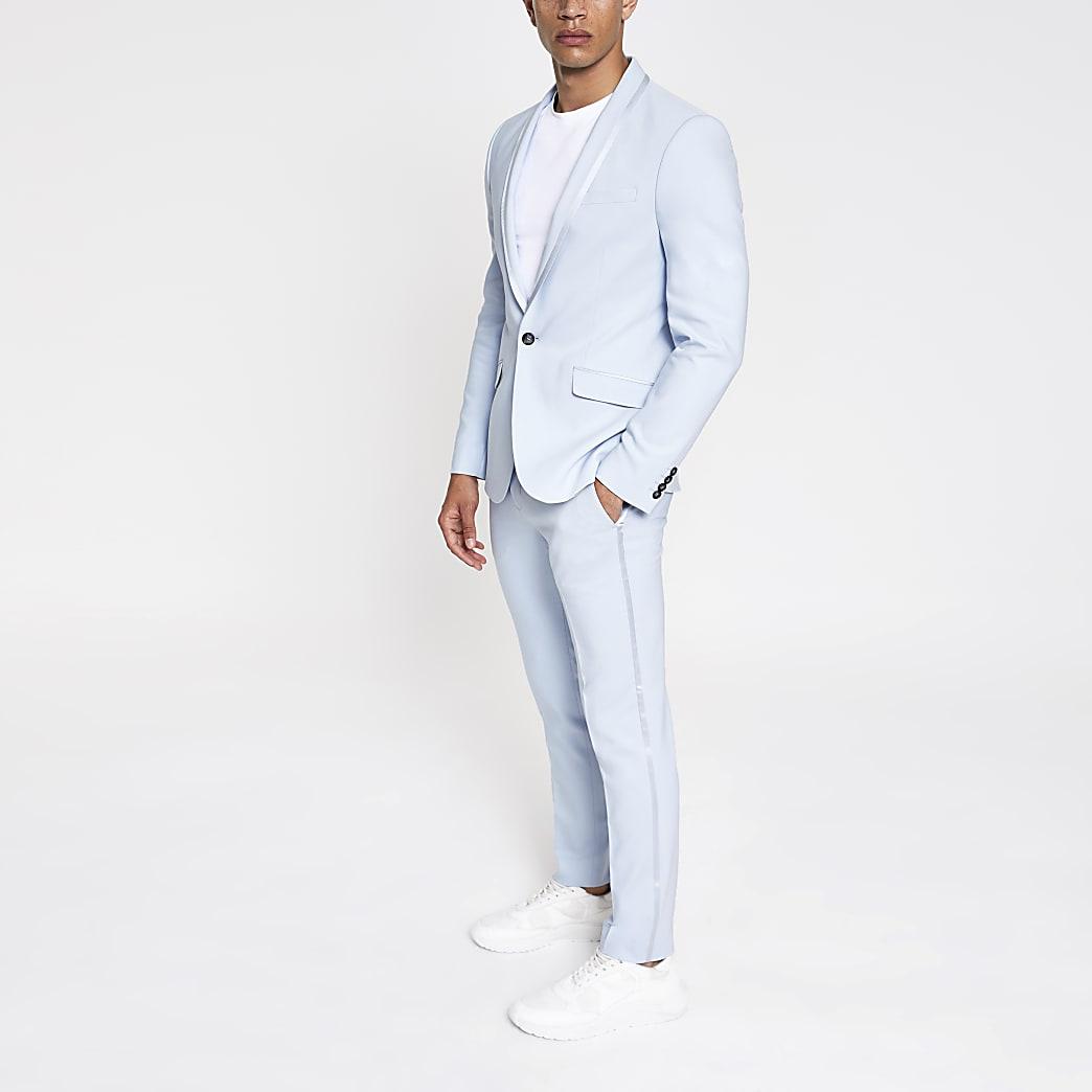 Pantalon de costume skinny bleu clair stretch