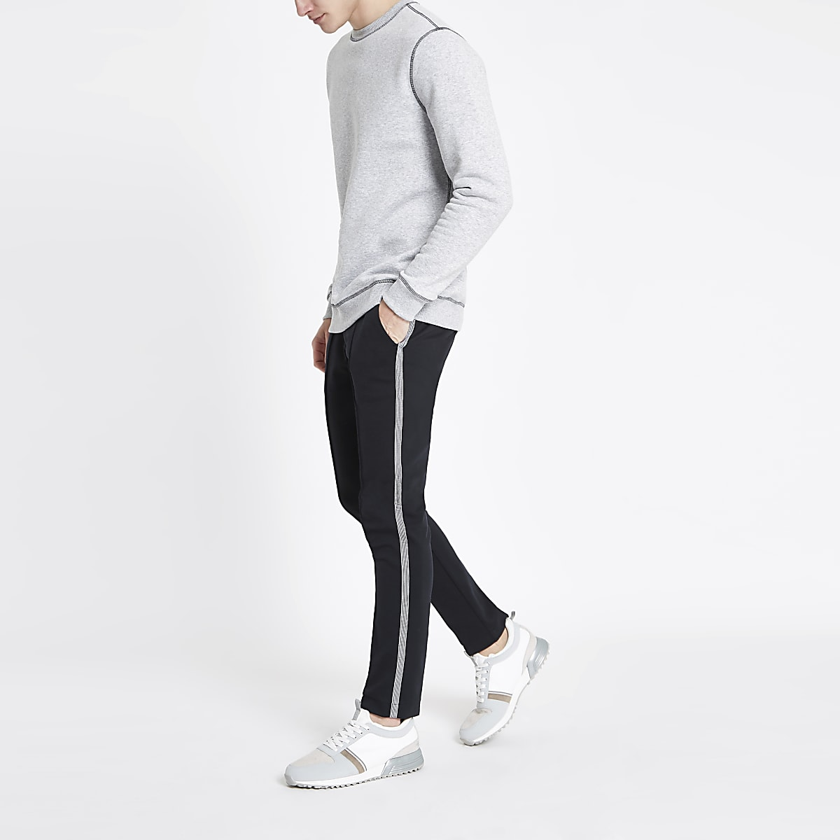 Navy super skinny smart joggers