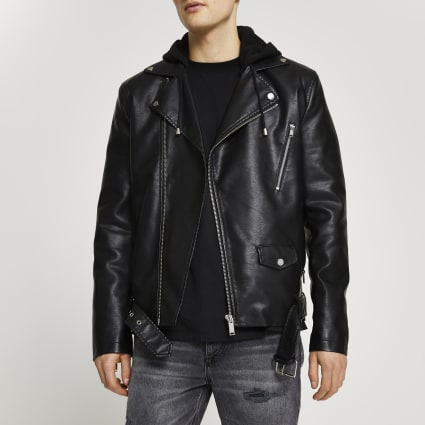 Black hooded faux leather biker jacket