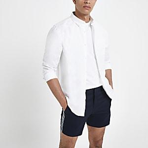 Wit linnen overhemd met lange mouwen