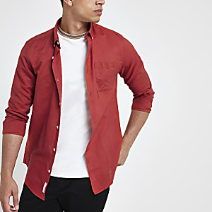 Red long sleeve linen blend shirt