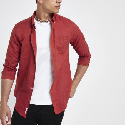 Red long sleeve linen blend shirt