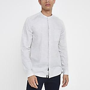 Grey herringbone slim grandad collar shirt