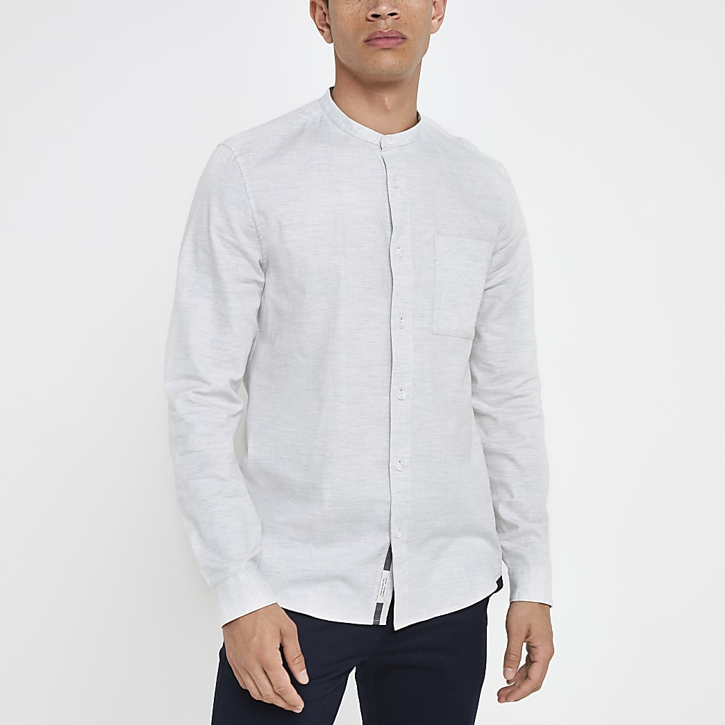 Grey herringbone grandad long sleeve shirt