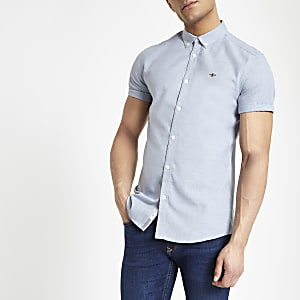 Light blue slim fit short sleeve shirt