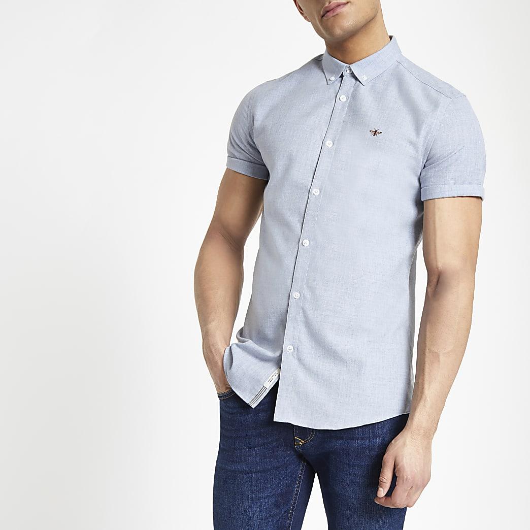 Light blue slim fit short sleeve shirt