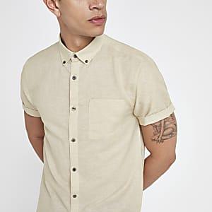 Chemise en lin mélangé écrue à manches courtes