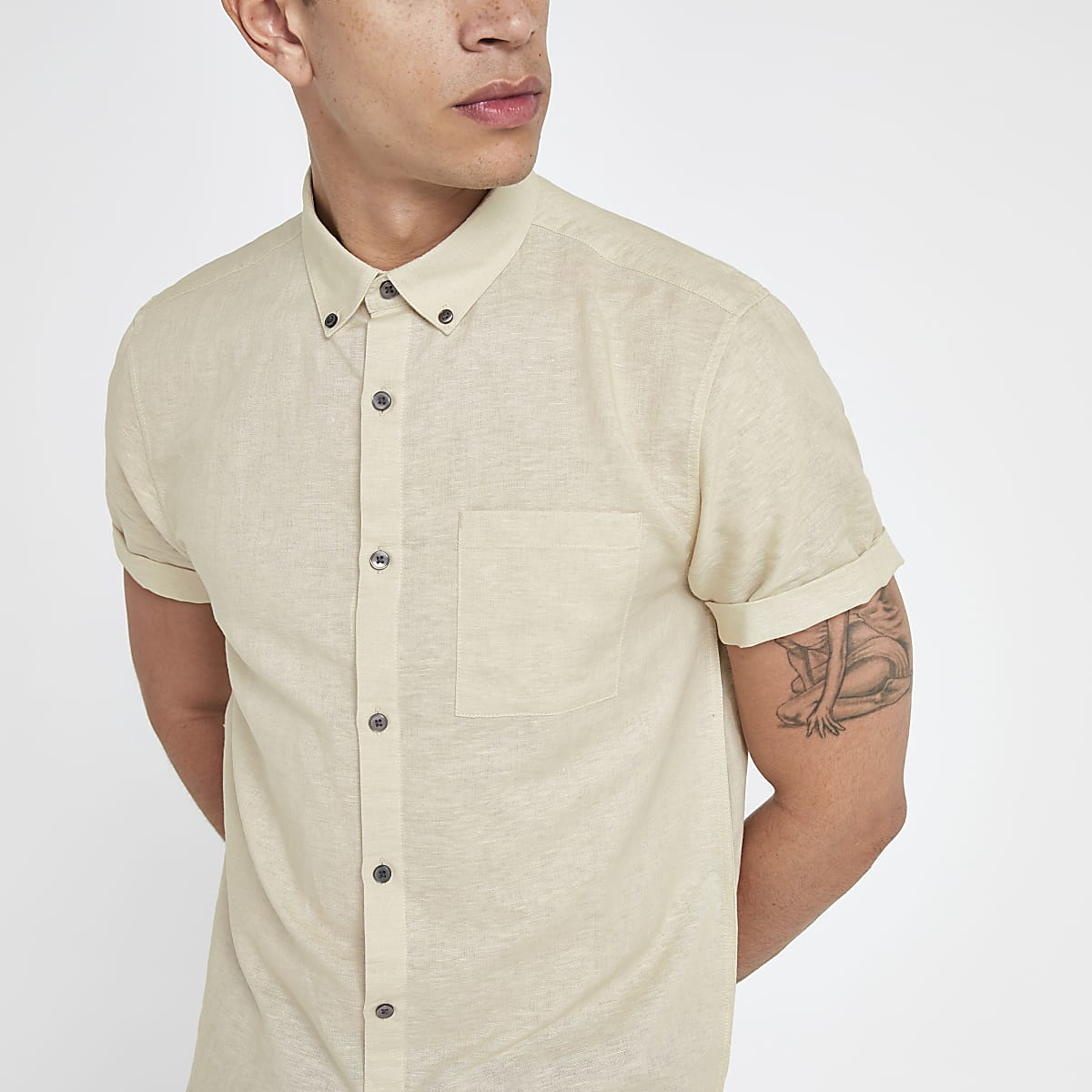 Ecru short sleeve linen blend shirt
