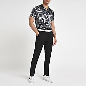 Zwart overhemd met barokprint en korte mouwen